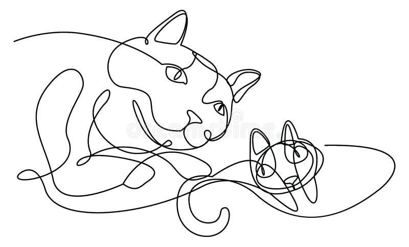 Dessin au trait continu chats moderne illustration de vecteur