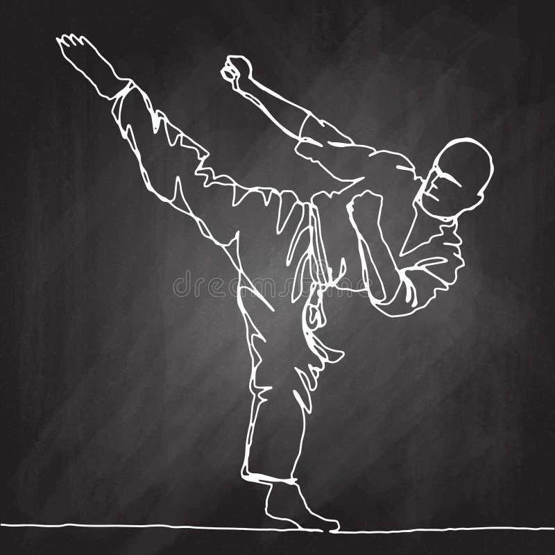 Dessin au trait continu d'athlète de karaté illustration libre de droits