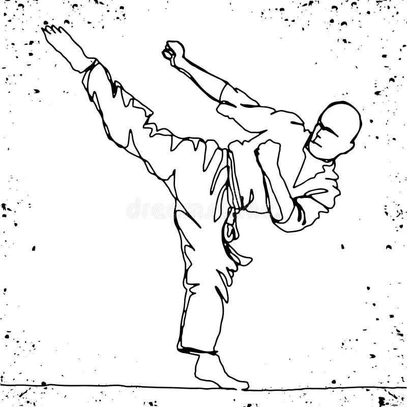 Dessin au trait continu d'athlète de karaté illustration de vecteur