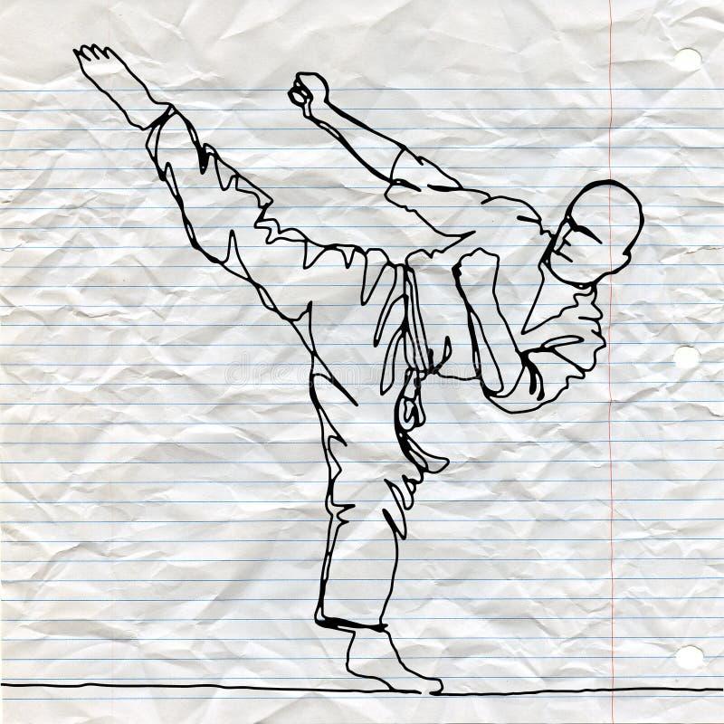 Dessin au trait continu d'athlète de karaté illustration stock