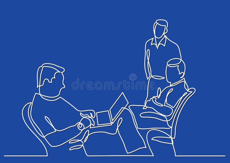 Dessin au trait continu d'entrevue d'emploi illustration libre de droits