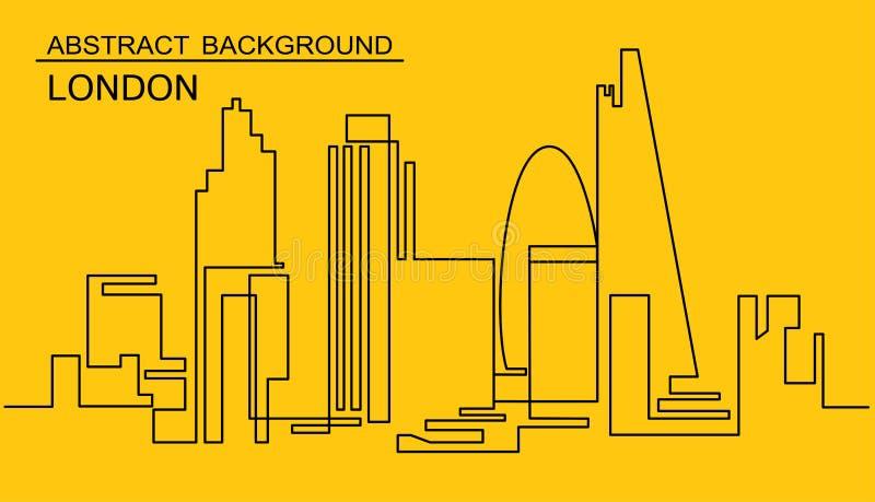 Dessin au trait continu d'horizon de vecteur Une ligne paysage urbain de Londres de style Métropole minimalistic moderne simple d illustration libre de droits