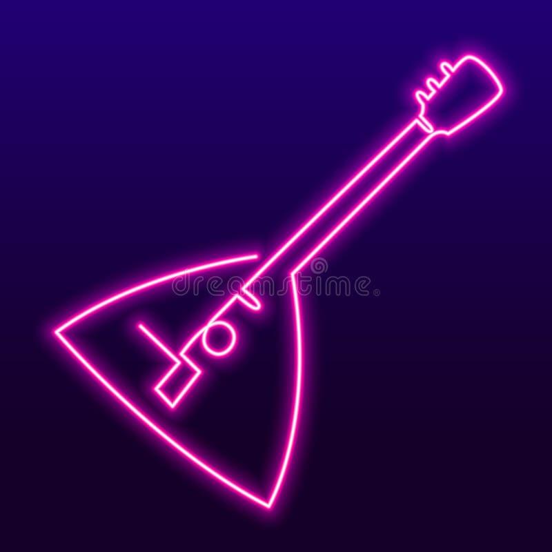 Dessin au trait continu d'icône de balalaïka Ligne simple illustration de l'élément un de vecteur Enseigne au néon de karaoke, lu illustration stock