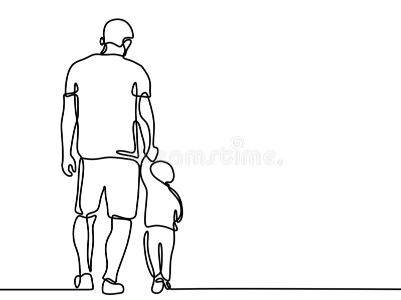Dessin au trait continu d'un beau concept de la famille de p?re et de fils Father' ; style de minimalisme de carte de jour de illustration libre de droits