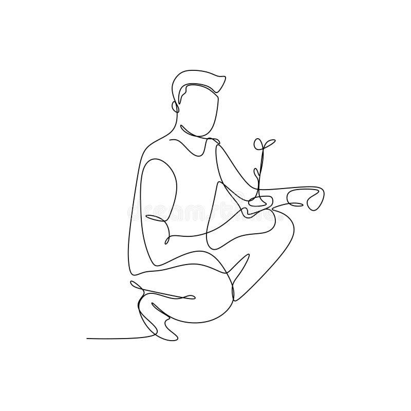 dessin au trait continu d'un homme tenant une usine illustration stock
