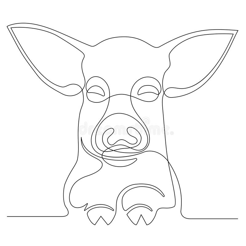 Dessin au trait continu d'un porc de visage illustration de vecteur