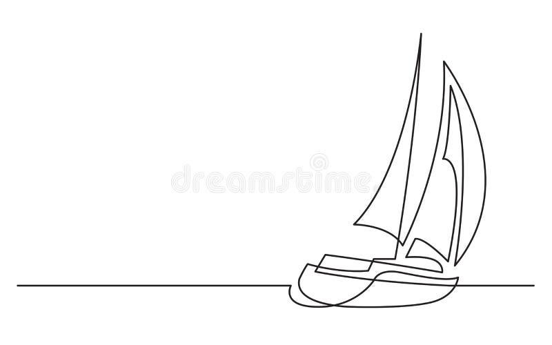 Dessin Au Trait Continu De Bateau A Voile Illustration Stock Illustration Du Bateau Trait 131806165