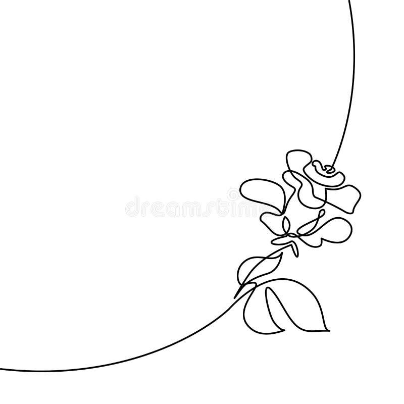 Dessin au trait continu de beau logo rose illustration libre de droits