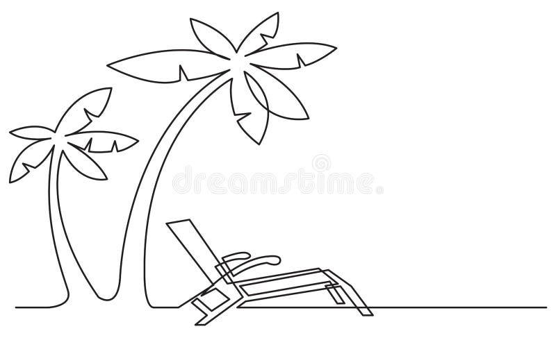 Dessin au trait continu de chaise et de palmiers de plage illustration libre de droits