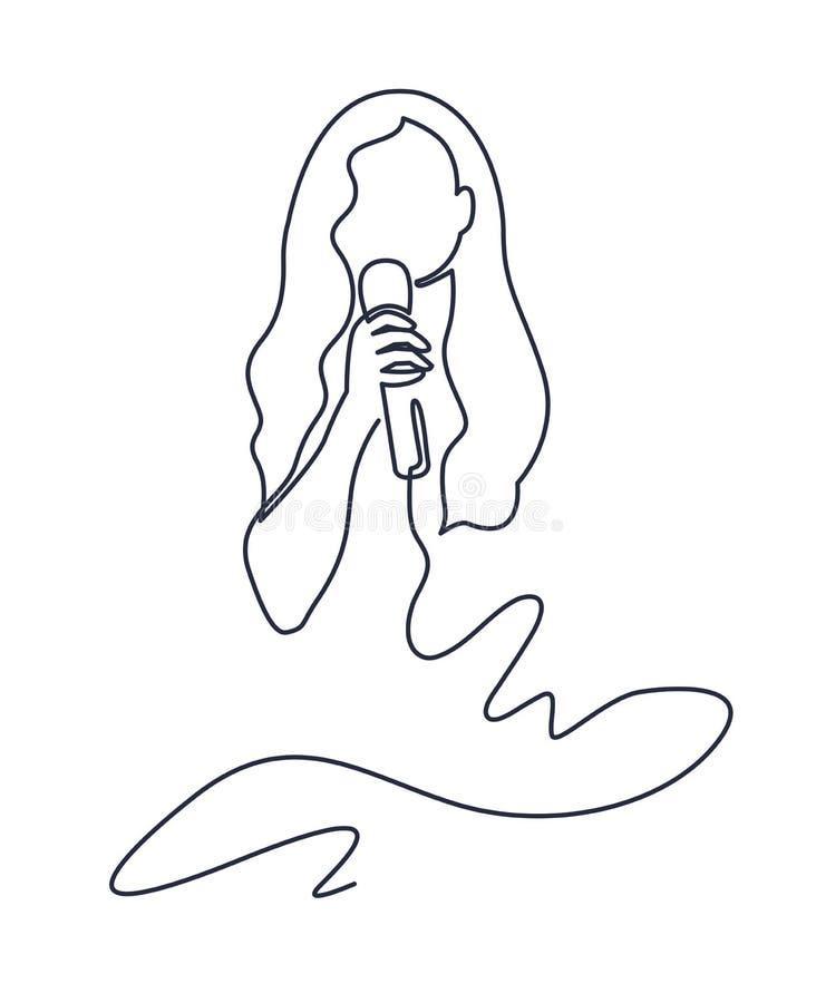 Dessin au trait continu de chantent la femme dans la ligne mince d'icône de microphone de câble par vecteur de karaoke pour le We illustration stock