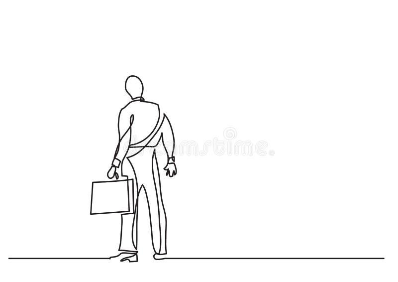 Dessin au trait continu de concept d'affaires - position d'homme d'affaires faisant face à des choix difficiles illustration de vecteur