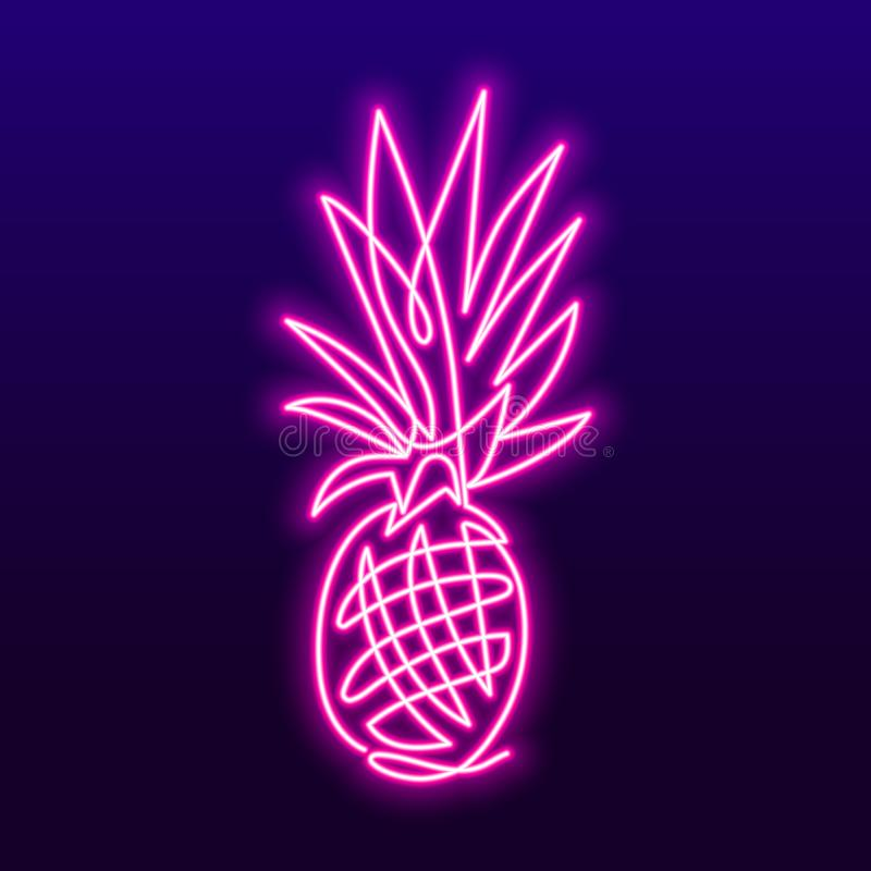 Dessin au trait continu de concept d'ananas d'illustration de vecteur de fruit Enseigne au néon de vecteur illustration libre de droits