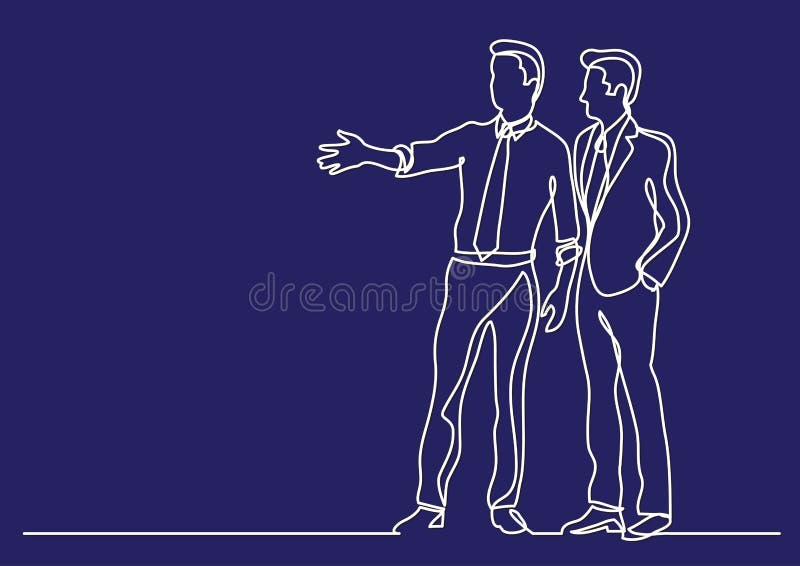 Dessin au trait continu de conjoncture économique - deux hommes d'affaires discutant des plans illustration de vecteur