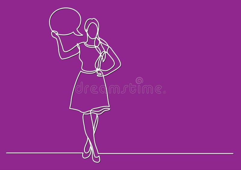 Dessin au trait continu de conjoncture économique - femme debout donnant son avis illustration libre de droits