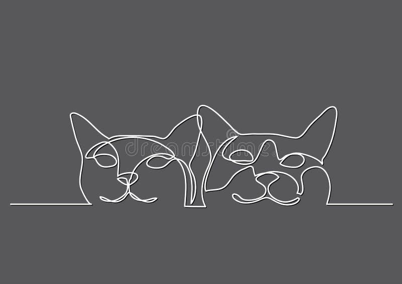 Dessin au trait continu de deux chats heureux illustration libre de droits
