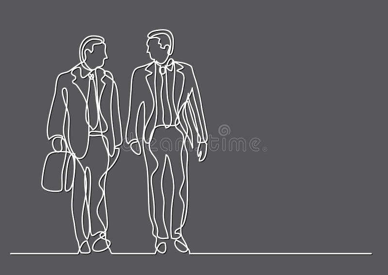 Dessin au trait continu de deux hommes d'affaires de marche illustration stock