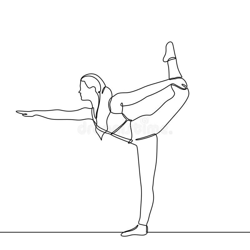 Dessin au trait continu de femme de yoga faisant l'exercice elle soulevant sa jambe et étirant le corps pendant la vie saine illustration stock