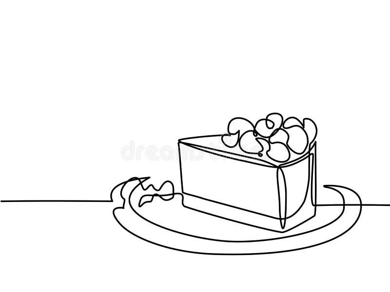 Dessin au trait continu de gâteau de morceau illustration libre de droits