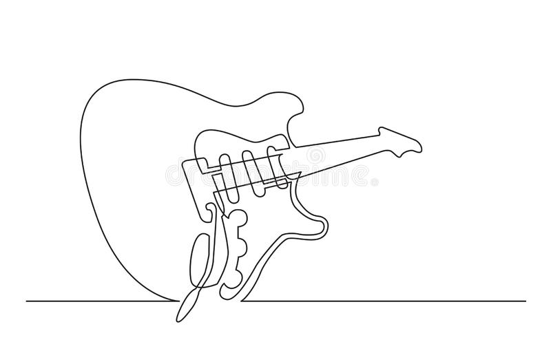 Dessin au trait continu de guitare électrique avec trois collectes simples de bobine illustration de vecteur