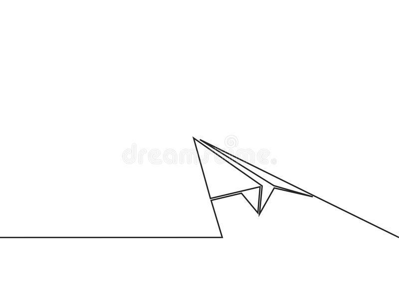 Dessin au trait continu de l'avion de papier illustration de vecteur