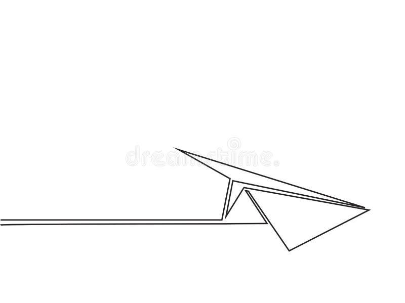 Dessin au trait continu de l'avion de papier illustration libre de droits