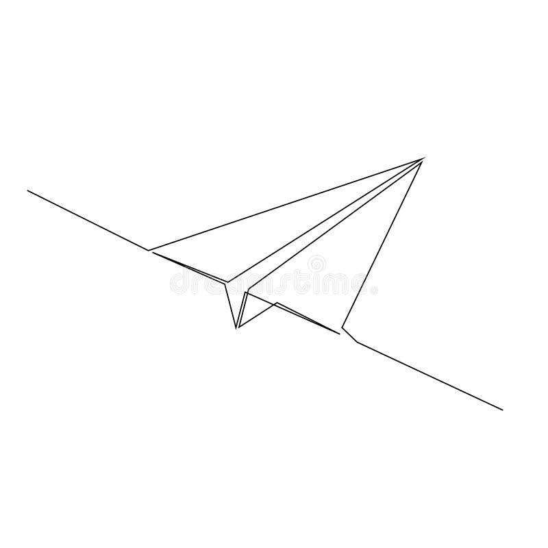 Dessin au trait continu de l'avion de papier illustration stock