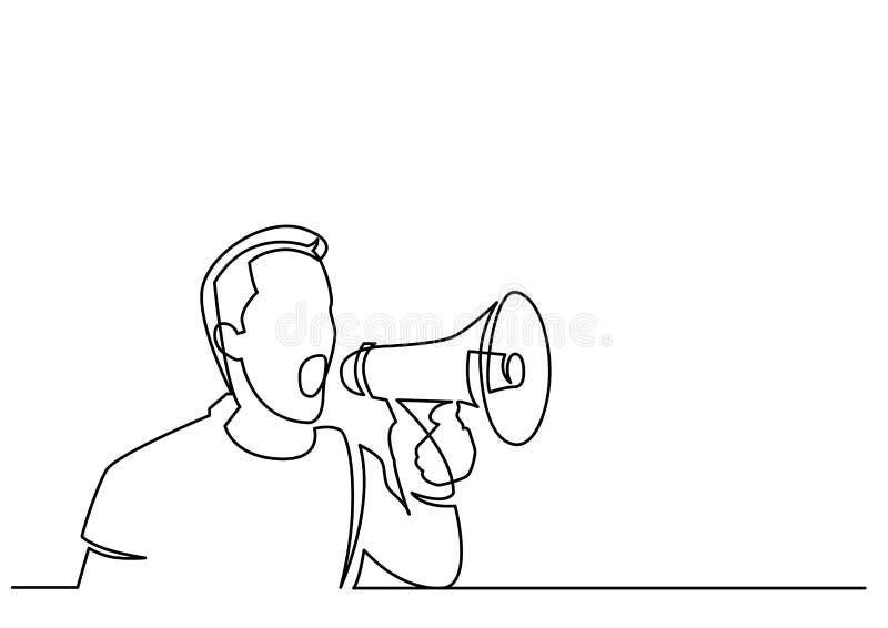 Dessin au trait continu de l'homme criant sur le mégaphone illustration de vecteur