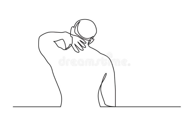 Dessin au trait continu de la douleur de l'homme de la douleur cervicale illustration stock
