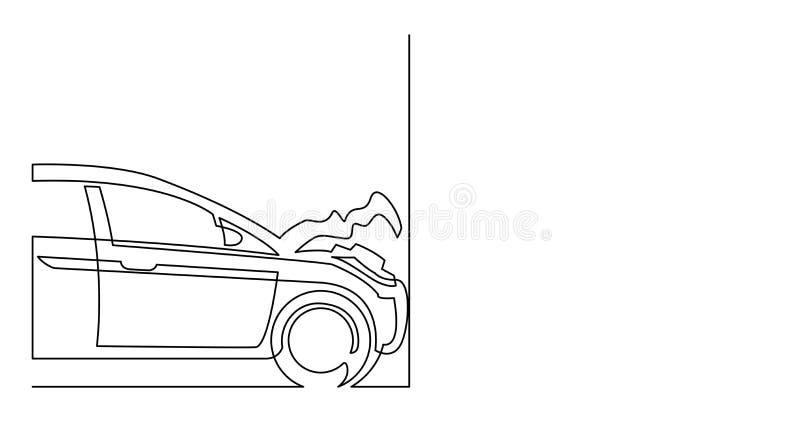 Dessin au trait continu de la voiture endommagée heurtée contre le mur illustration libre de droits