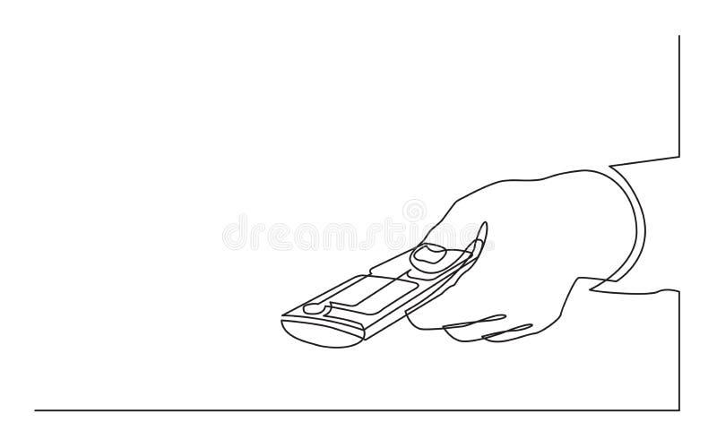 Dessin au trait continu de main cliquant sur à télécommande illustration de vecteur