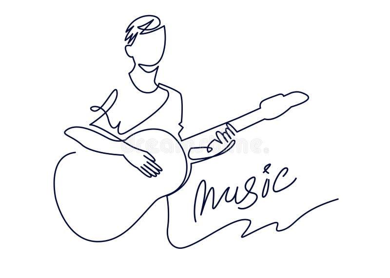 Dessin au trait continu de musicien joue l'illustration de vecteur de guitare acoustique d'isolement sur le blanc Concept musical illustration de vecteur