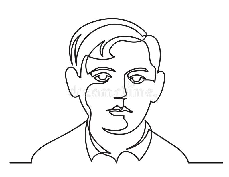 Dessin au trait continu de portrait de garçon sur le fond blanc illustration de vecteur