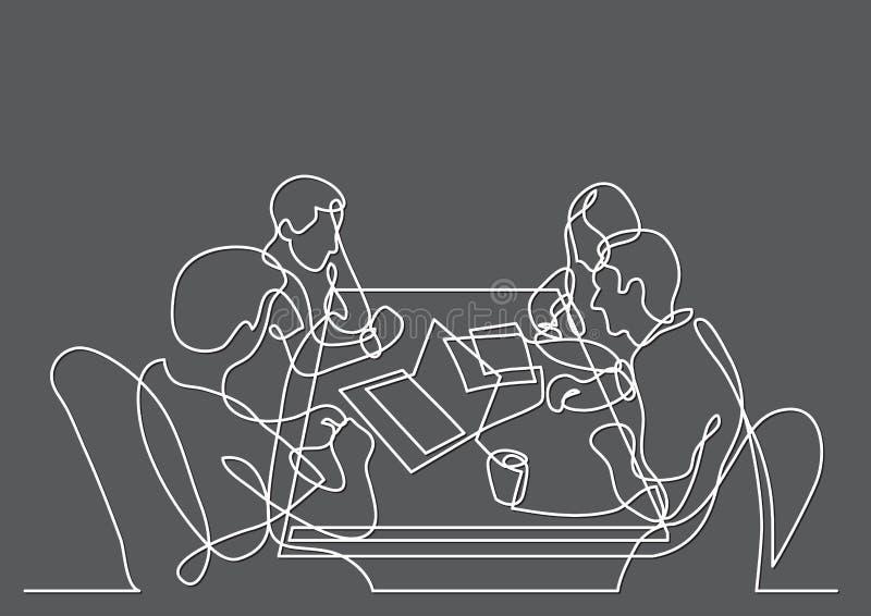 Dessin au trait continu de quatre membres de l'équipe travaillant ensemble illustration libre de droits