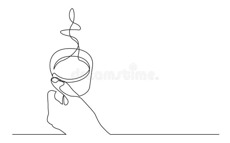 Dessin au trait continu de tasse de participation de main de café chaud illustration stock