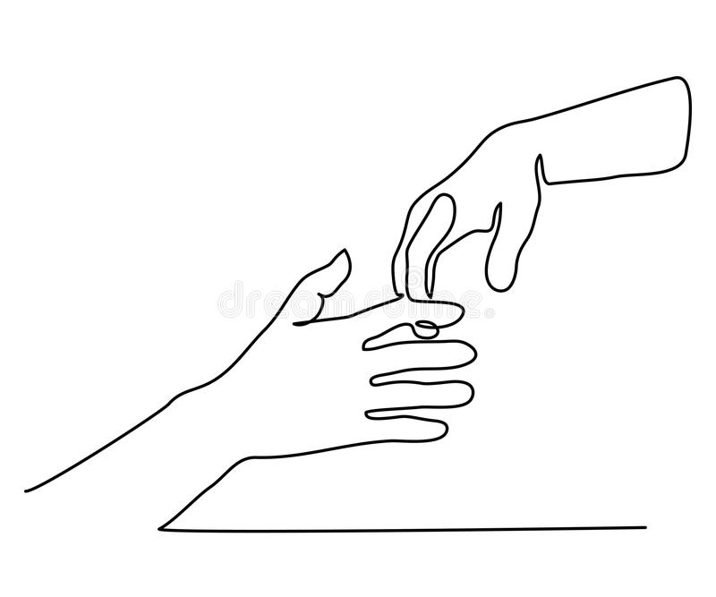 D Line Drawing Of Hand : Dessin au trait continu de tenir des mains ensemble