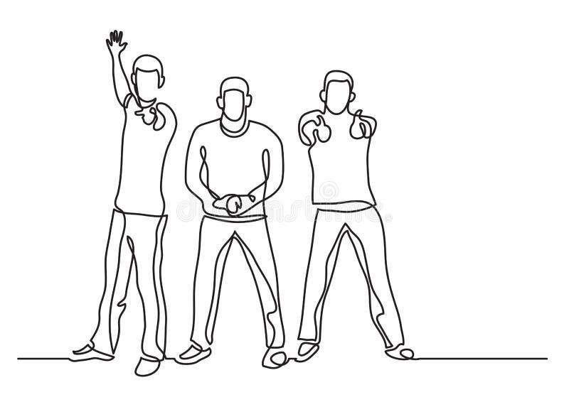 Dessin au trait continu de trois types encourageants illustration libre de droits