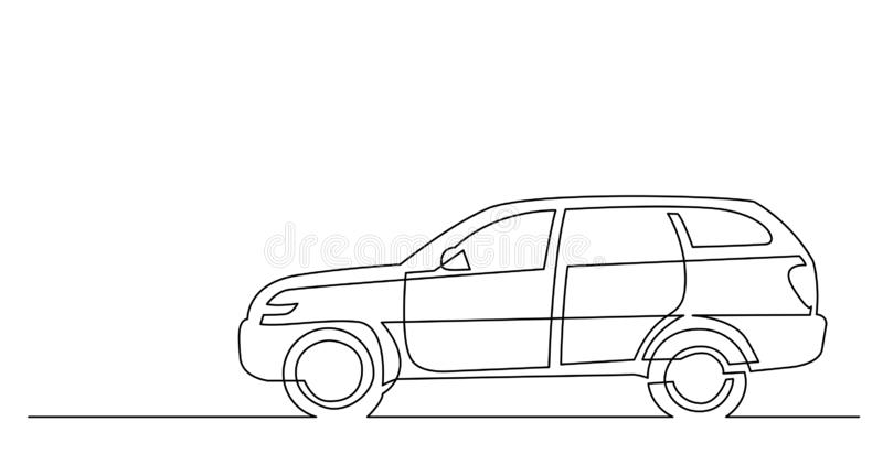 Dessin au trait continu de vue de côté de voiture moderne de suv illustration stock