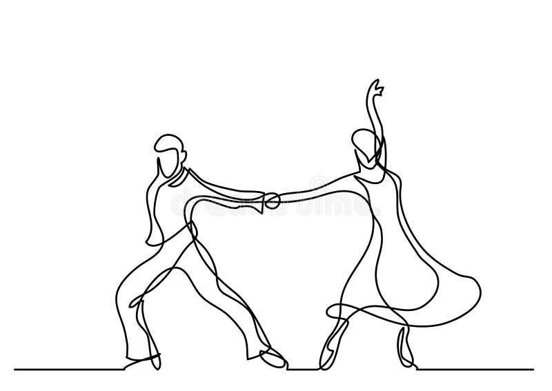 Dessin au trait continu des couples de danse illustration de vecteur
