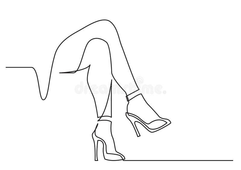 Dessin au trait continu des jambes nues de femmes dans des talons hauts illustration de vecteur