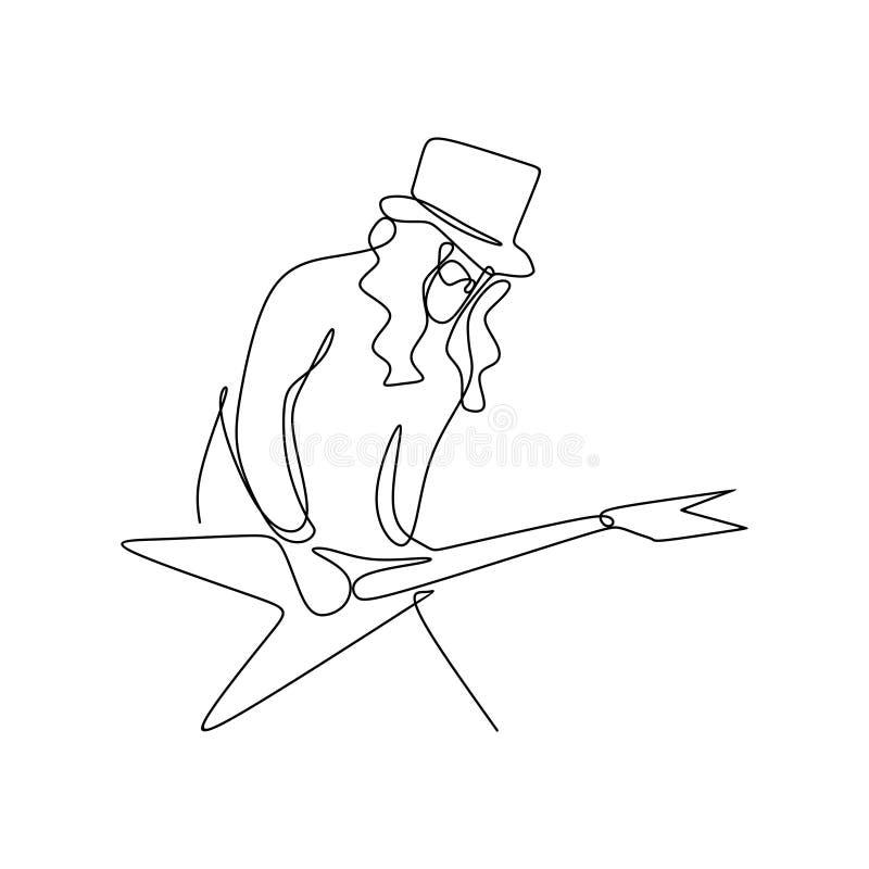 dessin au trait continu des joueurs de guitariste de balancier illustration de vecteur
