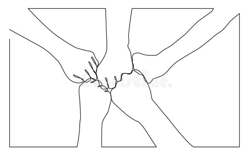 Dessin au trait continu des mains des poings se cognants d'équipe ensemble illustration stock