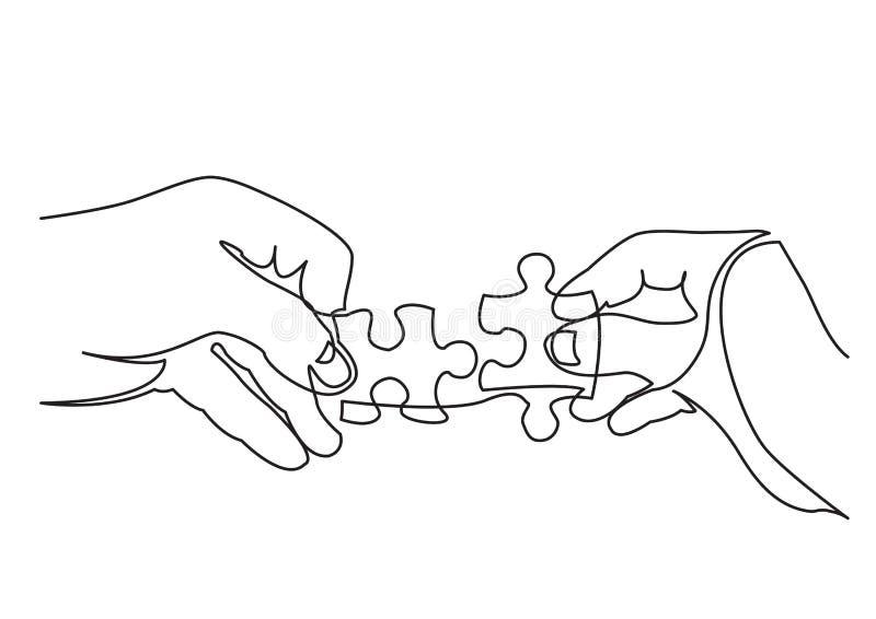 Dessin au trait continu des mains résolvant le puzzle denteux illustration libre de droits