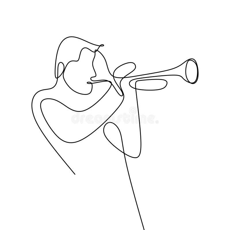 dessin au trait continu des musiciens de jazz jouant des instruments de musique de trompette illustration stock