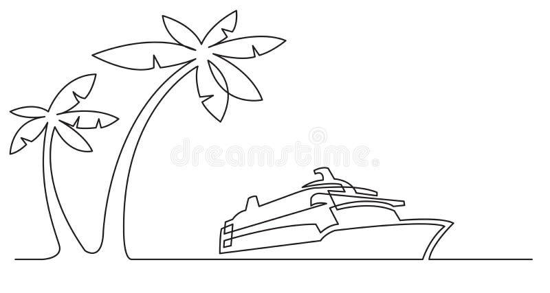 Dessin au trait continu des palmiers et du bateau de croisière illustration stock