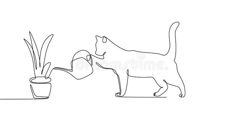 dessin au trait continu des usines d'arrosage d'animaux de chat illustration libre de droits