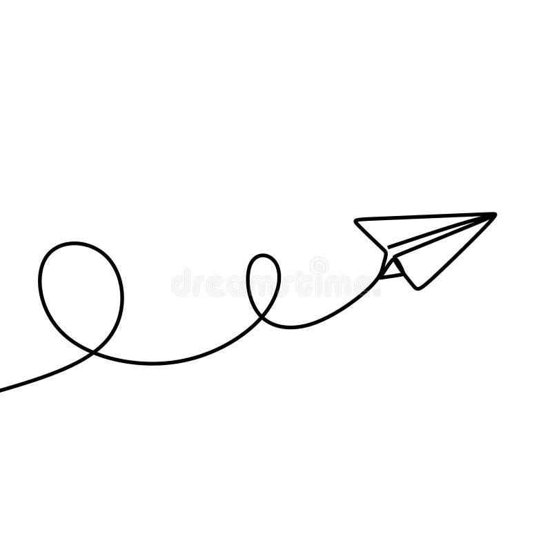 Dessin au trait continu du style plat de papier de minimalisme de métier illustration de vecteur