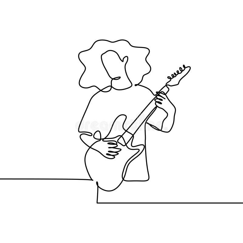 Dessin au trait continu joueur de guitare de jeune garçon jouant la musique électrique avec le style jeune illustration de vecteur