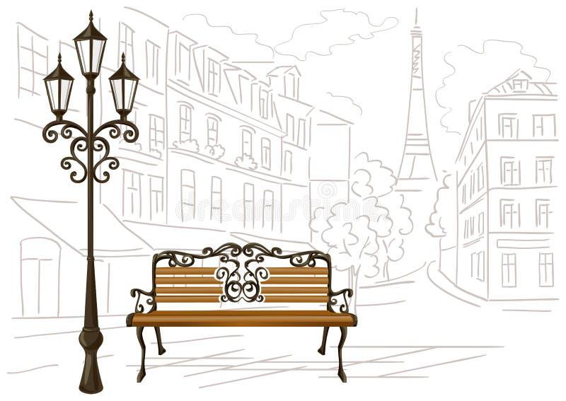Download Dessin Au Trait De Paris Dun Banc Et Dune Lanterne