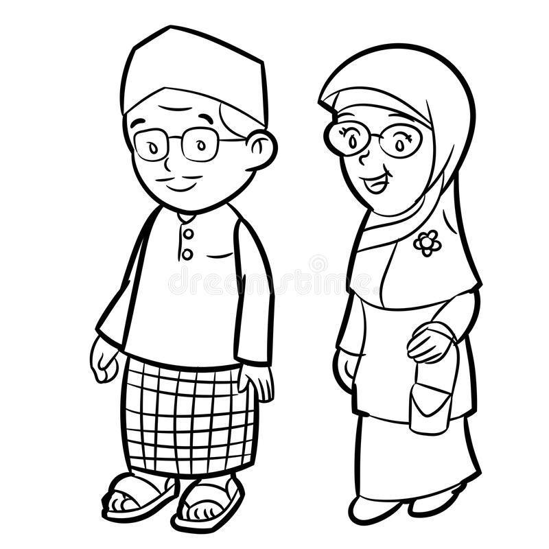 Dessin au trait de vecteur malais adulte de personnage de dessin animé illustration de vecteur