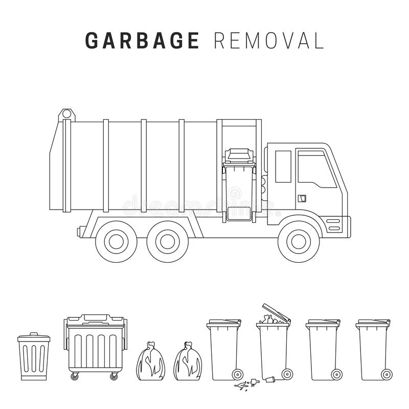 Dessin au trait enlèvement de déchets illustration libre de droits